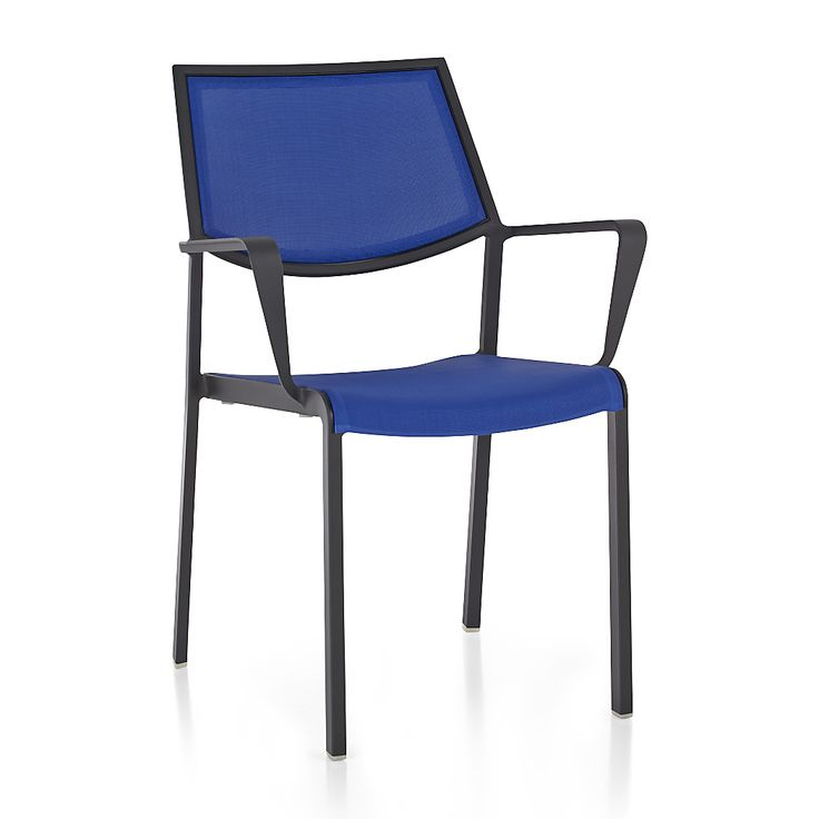 Shop Largo Blue Mesh Dining Chair.   The Largo outdoor dining chair is breezy and comfortable with a PVC-coated polyester mesh fabric seat and back in soothing Mediterranean blue.  Charcoal powdercoated aluminum frame offers the perfect contrast.