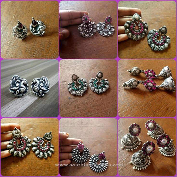 Indian Silver Ear Studs, Indian Silver Jhumkas, Indian Silver Chandbali Designs.