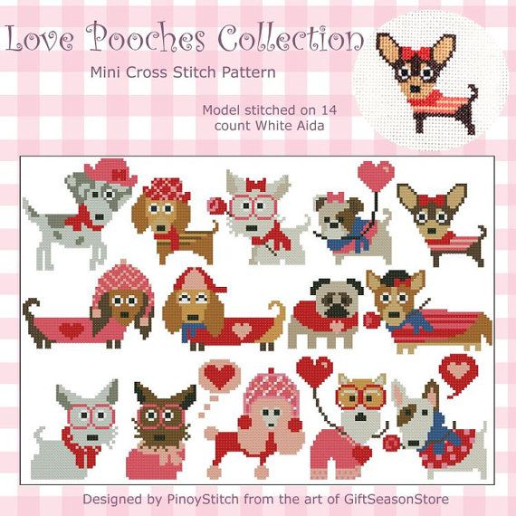 Love Pooches Dogs Collection Mini Cross Stitch PDF por PinoyStitch