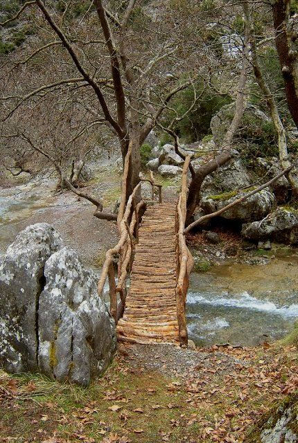 a scenic wooden bridge above of a stream of Milaontas river ... Arcadia, Greece | by Christos Georgilakis