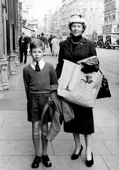 Molly Drake and Nick Drake shopping on Oxford Street, 1956