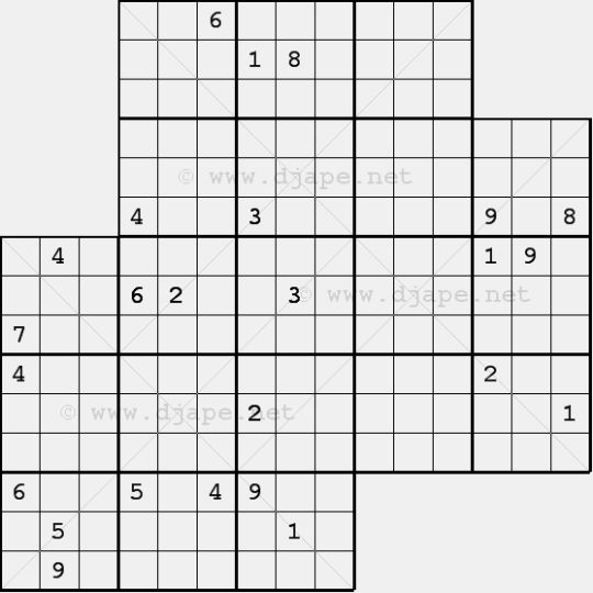 image regarding Jigsaw Sudoku Printable identified as Diagonal Jigsaw Sudoku