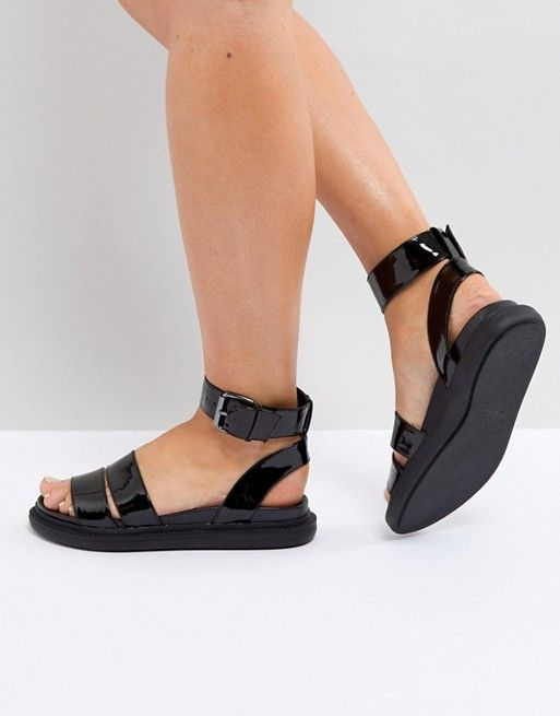 3b208c0c6af6 FLOCK Chunky Flat Sandals | Shoes | Sandals, Flat sandals, Black ...