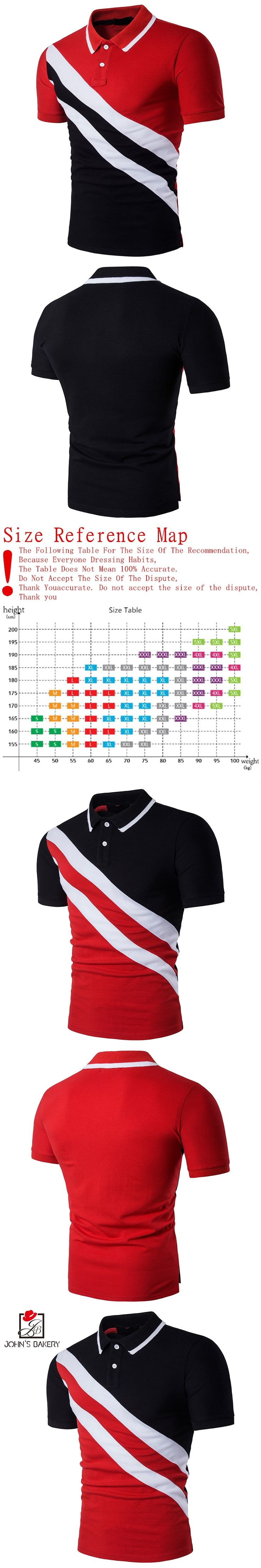 John's Bakery Polo Shirt Men 2017 Brand Clothing Oblique Stripes Polo Shirt Cotton Short Sleeve Poloshirt Men S-XXL B67CYXZ