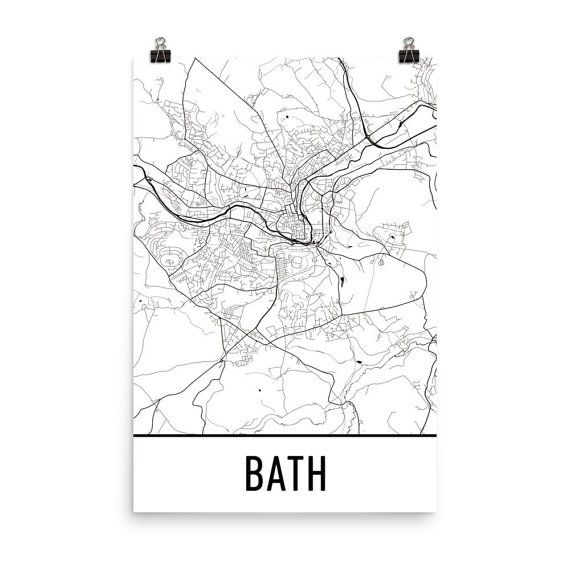 Bath Map, Bath England Art, Bath Print, Bath UK Poster, Bath Wall Art, Map of Bath, Bath Gift, Bath Map Art, Bath Map Print, Bath Wall Map