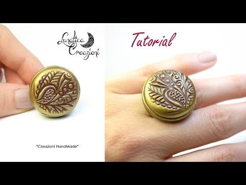 Polymer Clay Tutorial: Anello in fimo con texture, pigmenti e base in bronzo | Ring with mica powder - YouTube