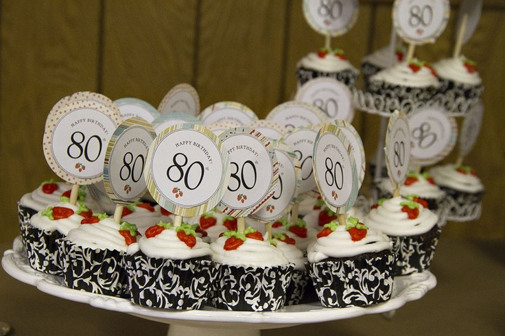 80th birthday cupcakes and cupcake picks birthday