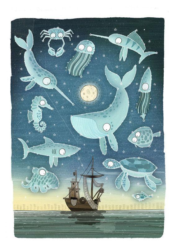 Ocean Constellations Illustration Children's Art by Brendandraws