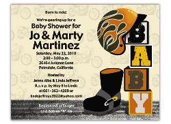 Orange Unisex Baby Shower Invitations Motorcycle Theme Born2Ride Baby