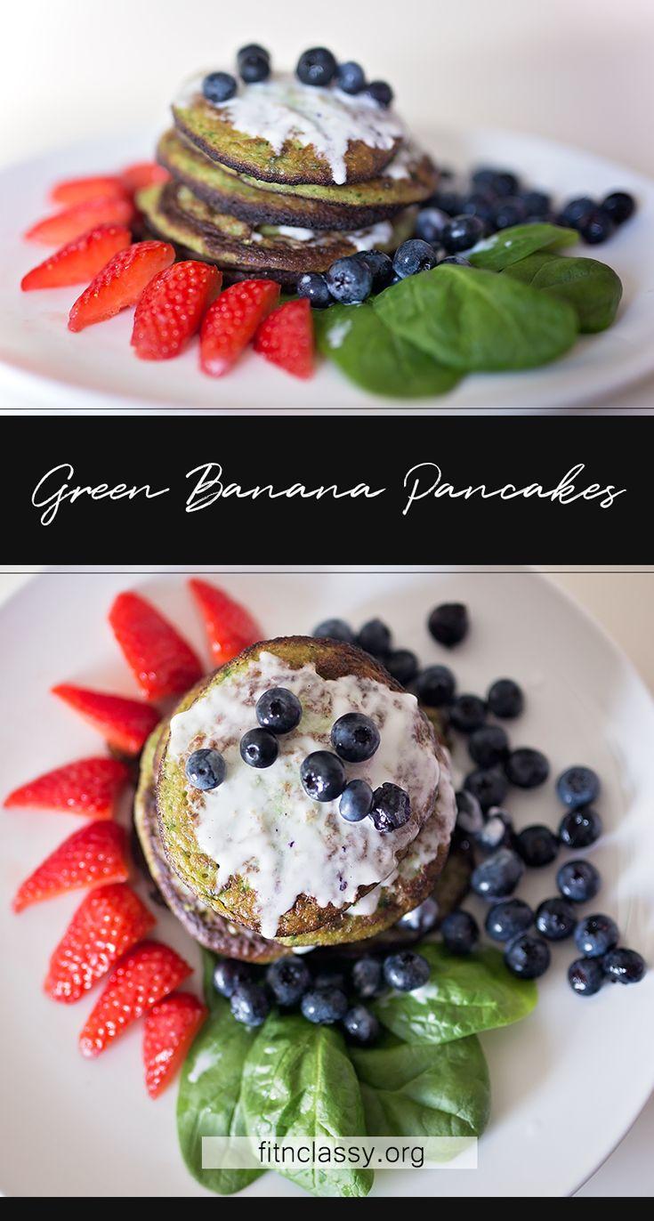 Healthy Green Spinach - Banana Pancakes #recipe #food
