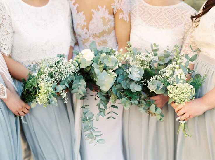 Bride and bridesmaids in homemade outfits styled by the bride. Shades of grey…