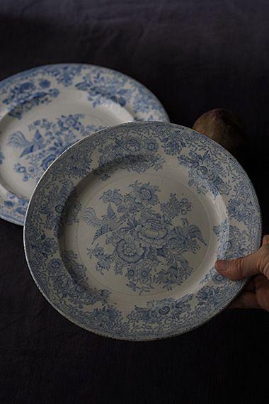 牡丹と高麗キジ、ディナープレート-england pottery plate 淡いブルーに包まれた幻想的で東洋美に溢れたパターンは今日、イングランド Burleigh( バーレイ)社のお品が有名ですが、ヴィクトリア時代(1838年〜1901年)に人気を博したこのパターンを陶器の街 スタッフォードシャーの幾つかの窯元で貸与した事から約50通り、ディティール違いの「アジアティック・フェザンツ」が存在するそう。2枚共バックスタンプが無くどちらの窯元か時代はどの位か分かりません。まるで点描で描かれた様な儚げな印象は例に漏れず、和・洋・中、テイストを選ばないその時のお食事の色が映える地の色。小さな窯ホツが御座いますが、どちらもチップやヒビは御座いません。