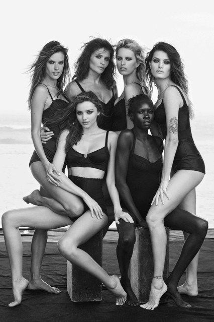 Alessandra, Helena, Karolina, Isabelli, Miranda and Alek. The Pirelli Calendar 50th Anniversary Shoot