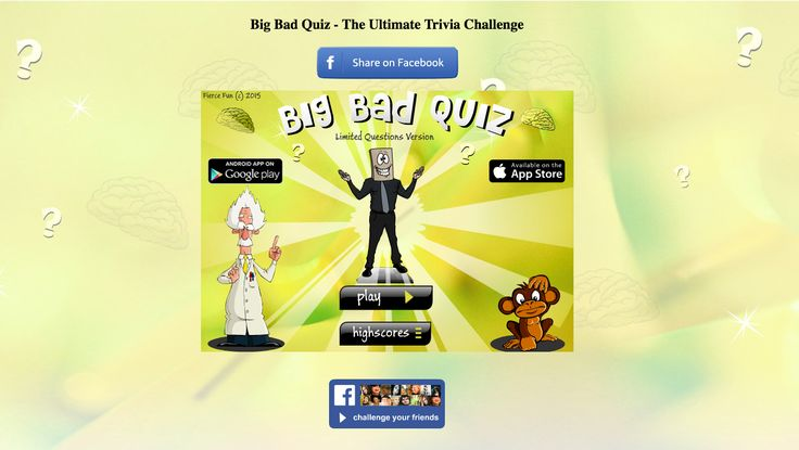 "The #BigBadQuiz #game is updated on facebook platform! Have you checked it out? Look for ""Big Bad Quiz"" on Facebook apps!"