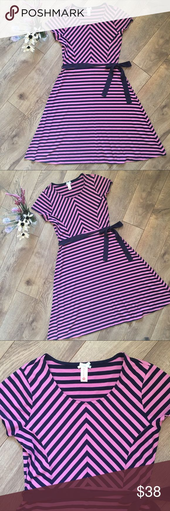 DOWNEAST Pink & Navy Striped A-line Dress - M DOWNEAST Pink & Navy Striped A-line Dress - Medium. Excellent used condition. Soft stretchy material. Only worn twice. No issues. Smoke free home. downeast Dresses
