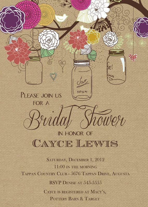 Rustic Mason Jar Tree Multi-colored with Burlap Bridal Shower Invitation - Printable on Etsy, $17.00