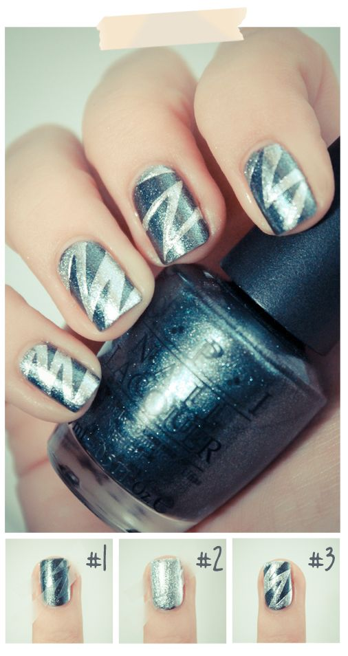 scotch tape mani - website is in French, but she has some CUTE nail tutorials!