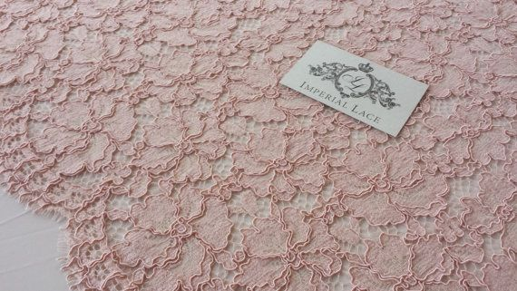 Pink lace fabric French Lace Embroidered lace by ImperialLace