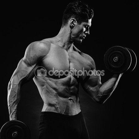 Спортивная(ый) человек красивый власти в подготовке накачивание мышц — стоковое изображение #100037096