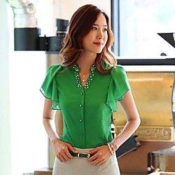 Women's Beads Ruffle Chiffon Blouse   LightInTheBox