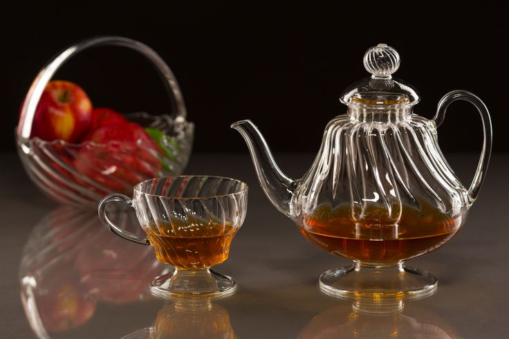 Teapot & Teacup - handmade glassware, elegant tableware - interior design