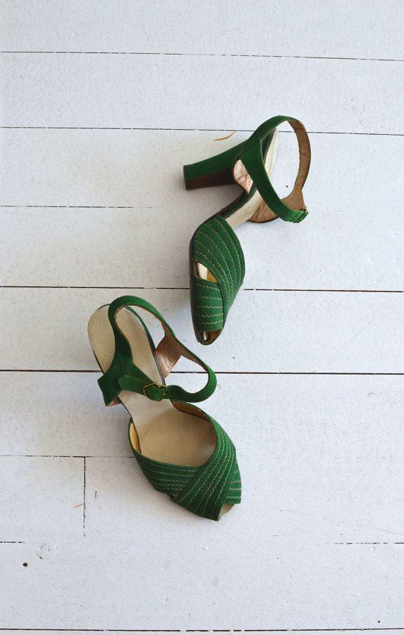 vintage 1930s emerald heels by DearGolden