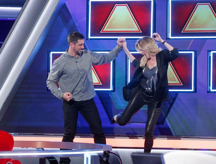 Erin Andrews and Aaron have fun on the $100,000 Pyramid.