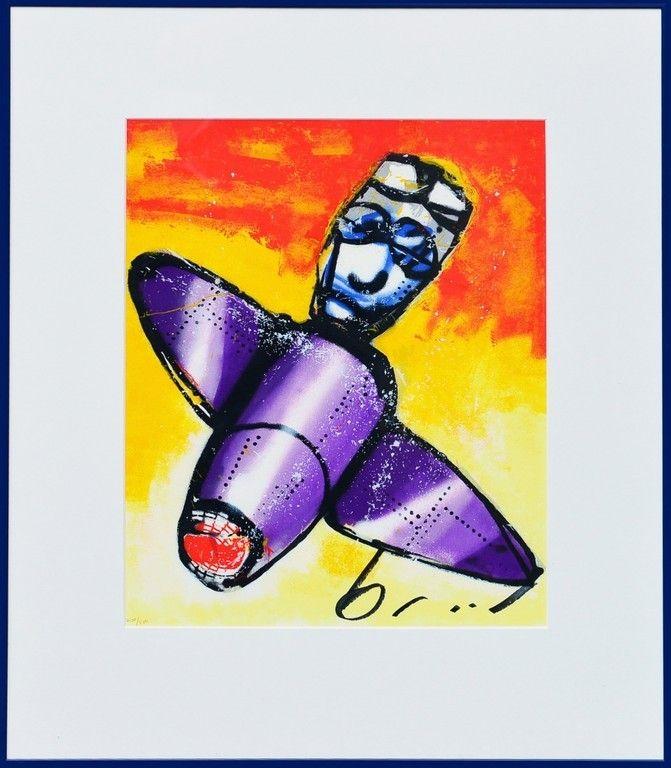 Dit is een: Zeefdruk hand gesigneerd, titel: 'Vliegtuigje' kunstwerk vervaardigd door: Herman Brood