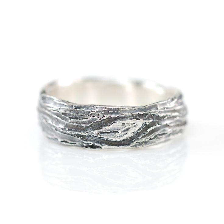 Tree schors en blad Ring in Palladium zilver size 11 door BethCyr