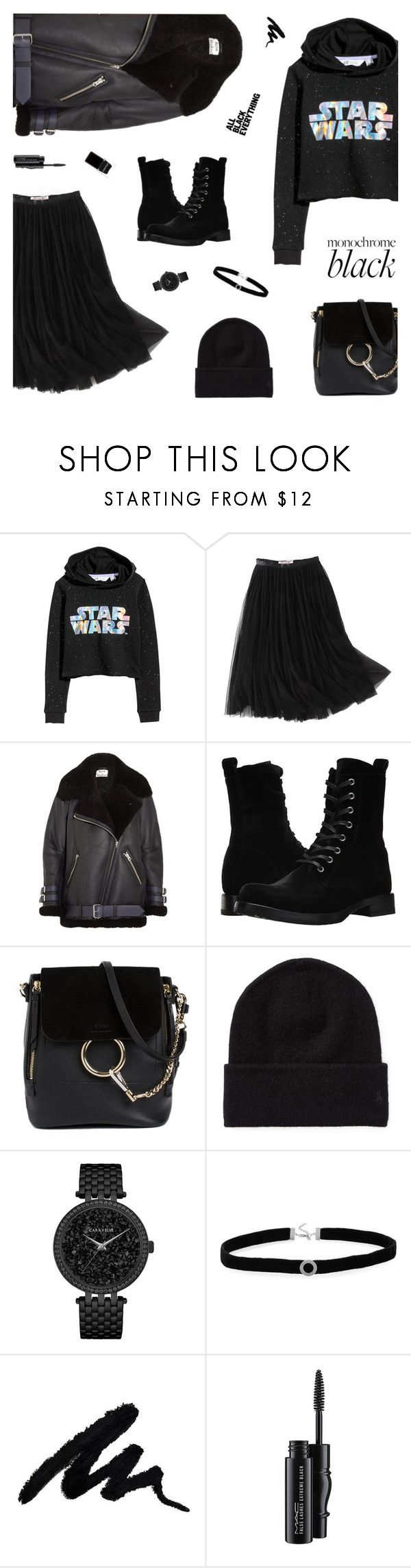 """""""Black Harmony"""" by nastenkakot ❤ liked on Polyvore featuring H&M, WithChic, Acne Studios, Frye, Chloé, Caravelle by Bulova, BillyTheTree, MAC Cosmetics, Context and allblackoutfit"""