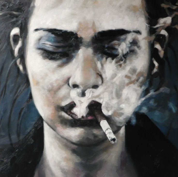 "Saatchi Online Artist: thomas saliot; Oil, Painting ""smoking face""--the smoke is so exquisitely thick."