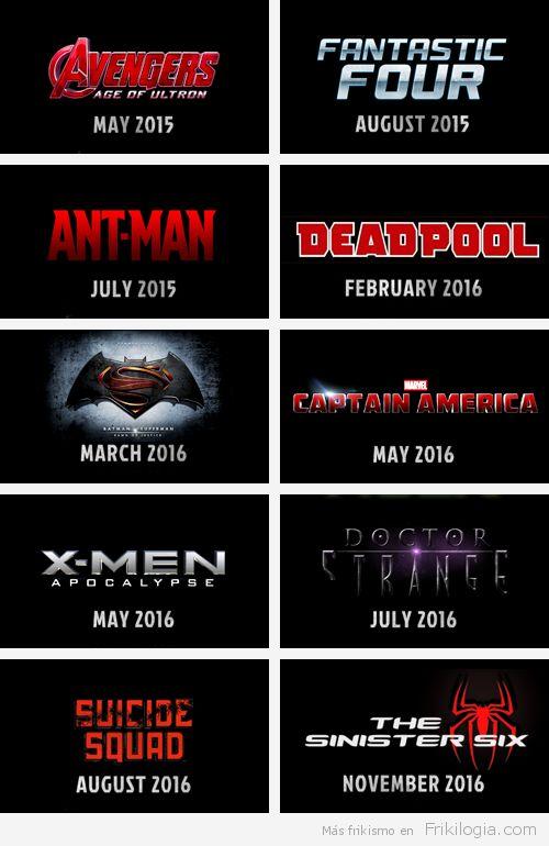 Películas de Cómics que están por llegar 2015-2019 - http://frikilogia.com/peliculas-de-comics-que-estan-por-llegar-2015-2019/ Películas de basadas en Cómics que están por llegar 2015-2019