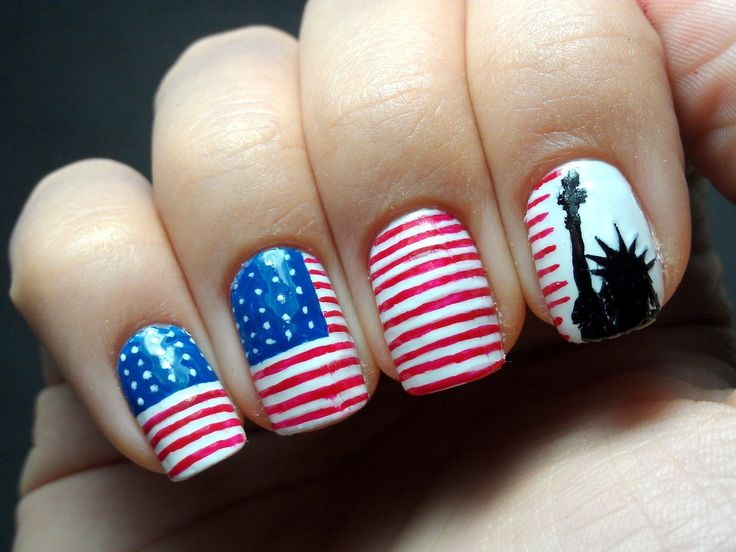 30+ Unique And Awesome Nail Trends You Should Follow This Year. Statue Of  LibertyAmerican Flag ... - 25+ Best American Nails Ideas On Pinterest American Flag Nails
