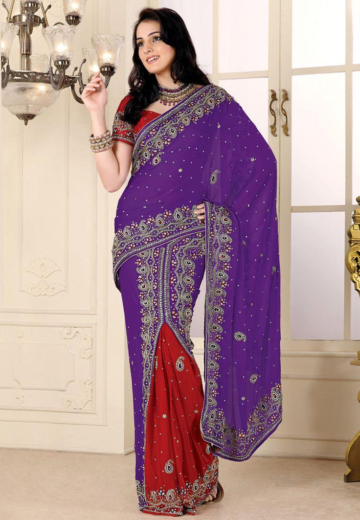 Combo style  http://www.utsavfashion.com/saree/purple-and-red-faux-satin-chiffon-lehenga-style-saree-with-blouse/sap172-itemcode