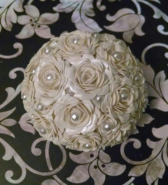 """2.5"""" half round, with mini spiral flowers and mini pearls. The center flower will hold a spiral place card pick."""