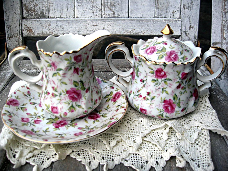 vintage china cream sugar set rose lace