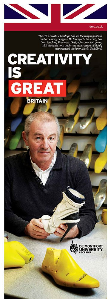 The UK's creative heritage has led the way in fashion and accessory design – De Montfort University has been teaching Footwear Design for more than 120 years, with students now under the supervision of experienced designer, Kevin Guildford, pictured.