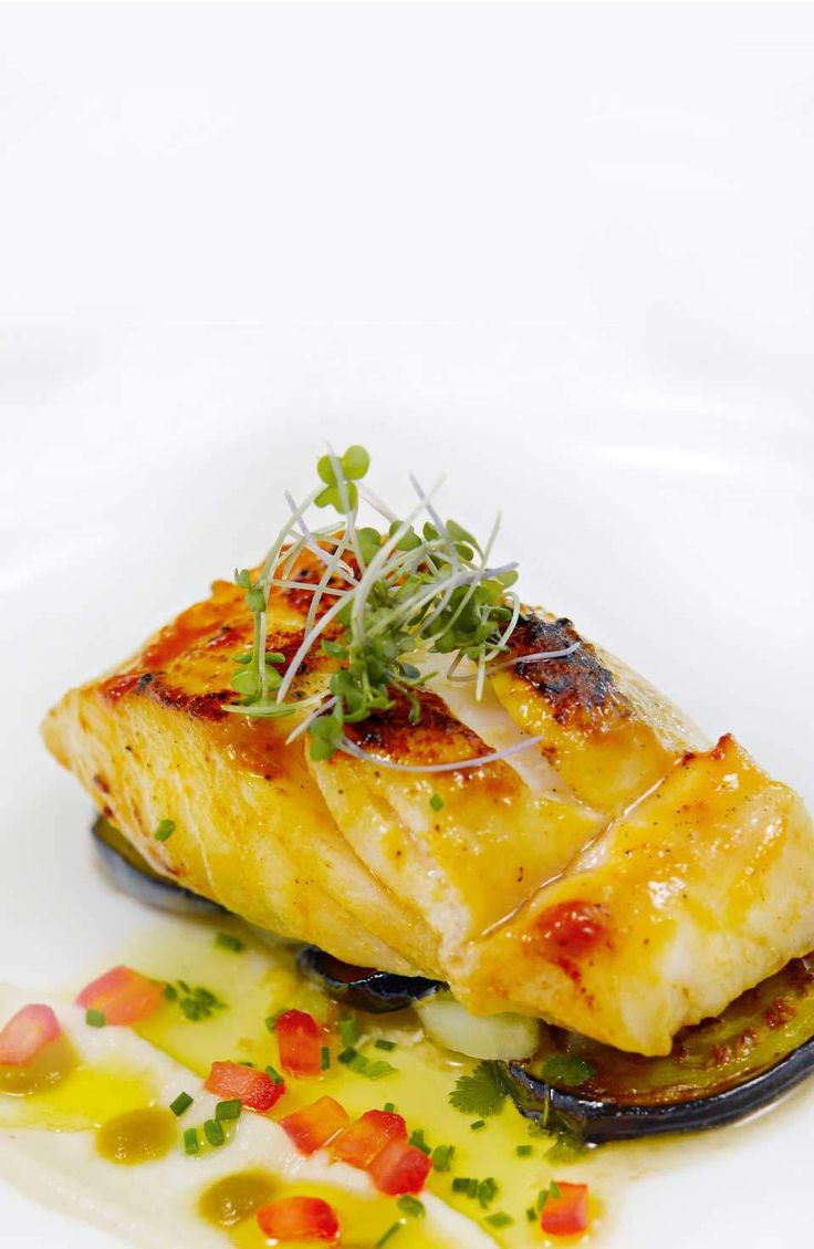 Miso glazed kingklip with coconut aubergine sweet chilli for Gourmet fish recipes
