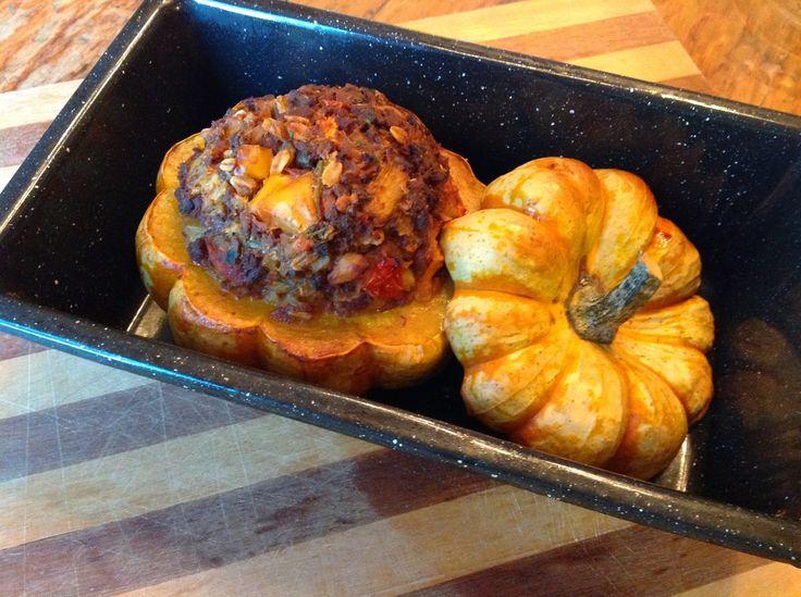 Vegetarian Meatloaf in a Pumpkin
