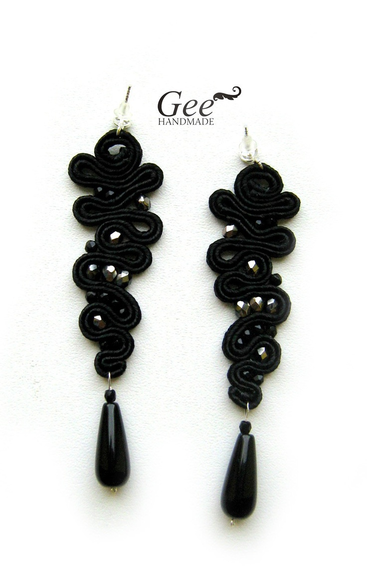 "Soutache earrings ""Black icicle"". Collection ""Black"""