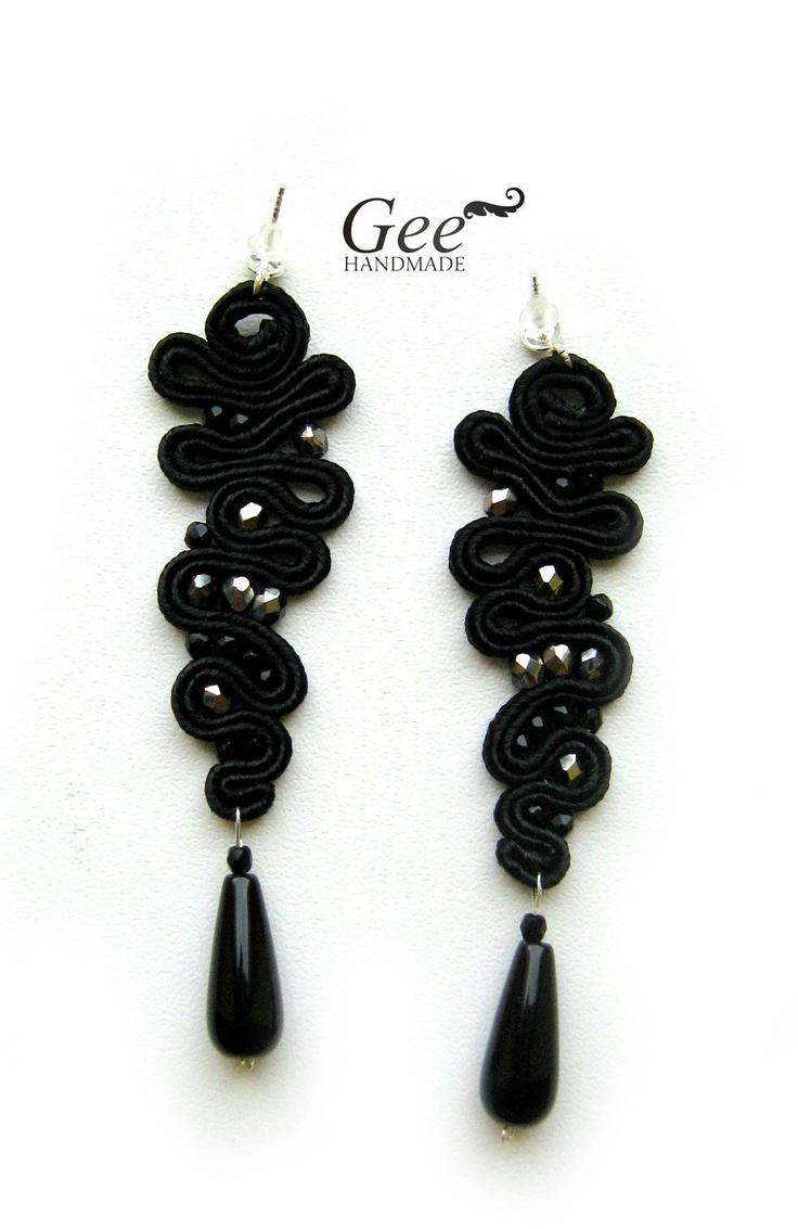 "Soutache earrings ""Black icicle"". Collection ""Black"""