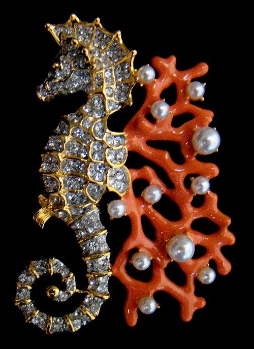 Coral, Pearl and Diamond Seahorse Brooch, Kenneth J. Lane