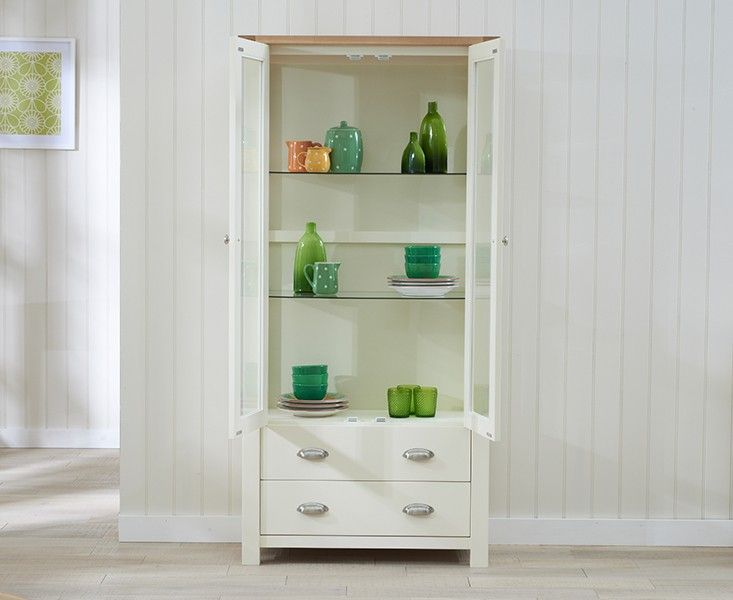 Somerset Oak and Cream Display Cabinet.