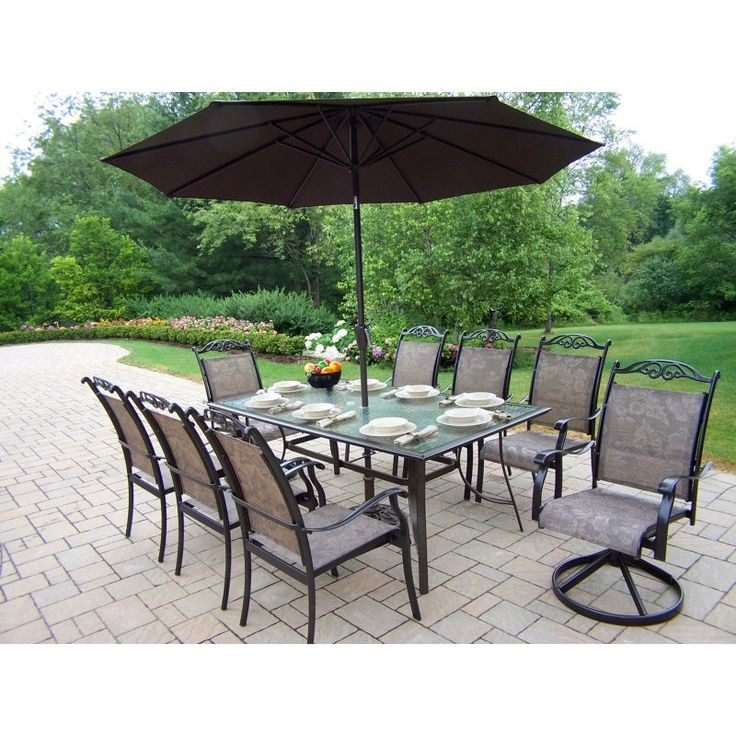 Outdoor Oakland Living Cascade Patio Dining Set with Umbrella and Stand - 10605-11-CF