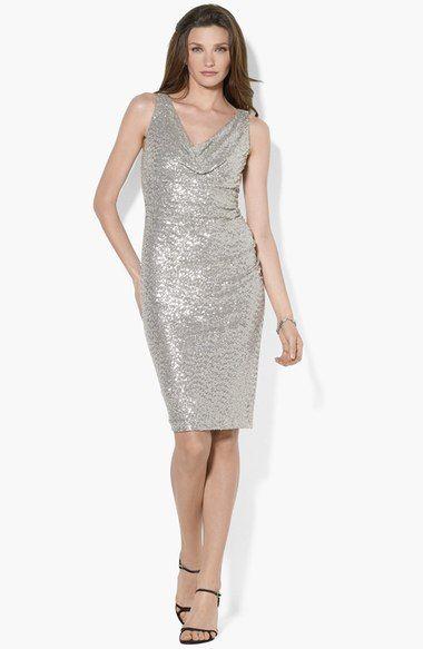 Lauren Ralph Lauren Cowl Neck Sequin Sheath Dress available at #Nordstrom