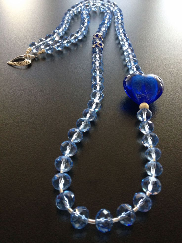 Crystal Handmade Necklace with blue Heart foil glass by BYTWINS, €25.00