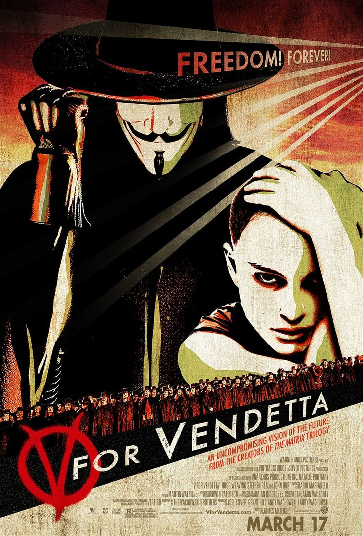 The poster uses a minimum amount of color, but tries to make V look mysterious and dark as this reflects his personality in the movie, whereas Evey contrasts with V looking bright and open. The main text is very minimal with just the freedom forever line and the movies title, yet the bottom text is small and unreadable at a distance, this is because it is unimportant.