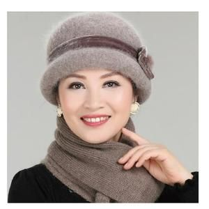 New Fashion Women Winter Hat Sets Floral Skullies Wool Mixed Rabbit Fur Warm Outdoor Knitted Beanies Baggy Headwear Cap – Skullies & Beanies