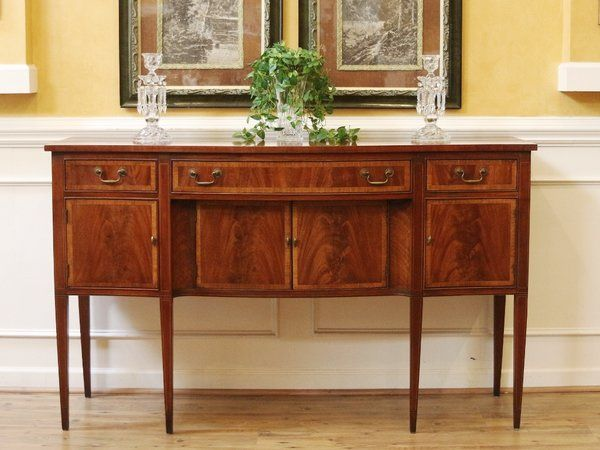 ON HOLDVintage Sheraton Style Mahogany Sideboard Buffet With Inlay