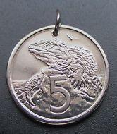 1982 New Zealand Coin Pendant, 5 Cents Tuatara Lizard